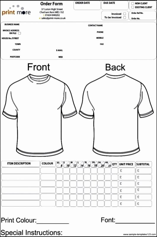 Embroidery order form Template Luxury Apparel order form Template Template