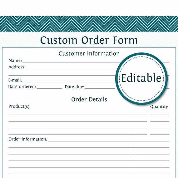 Embroidery order form Template Unique Custom order form Fillable Business Planner Printable