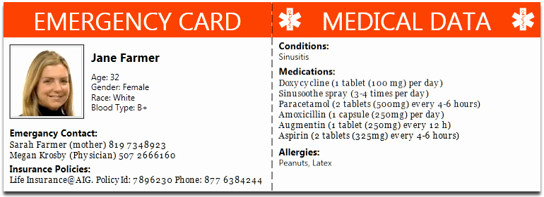 Emergency Card Template Beautiful Family Health Management software