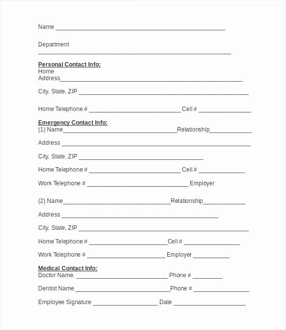 Emergency Card Template Elegant 15 Employee Information Sheets