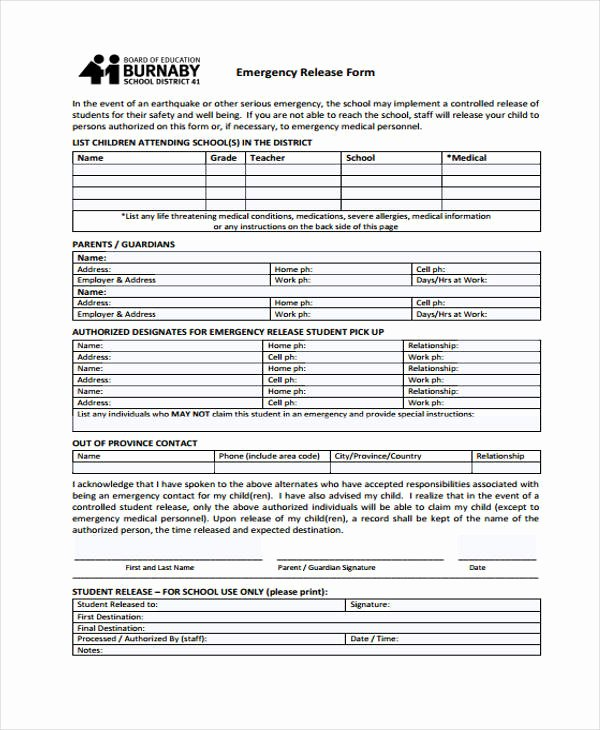 Emergency Room Discharge form Fresh 21 Emergency Release form Example