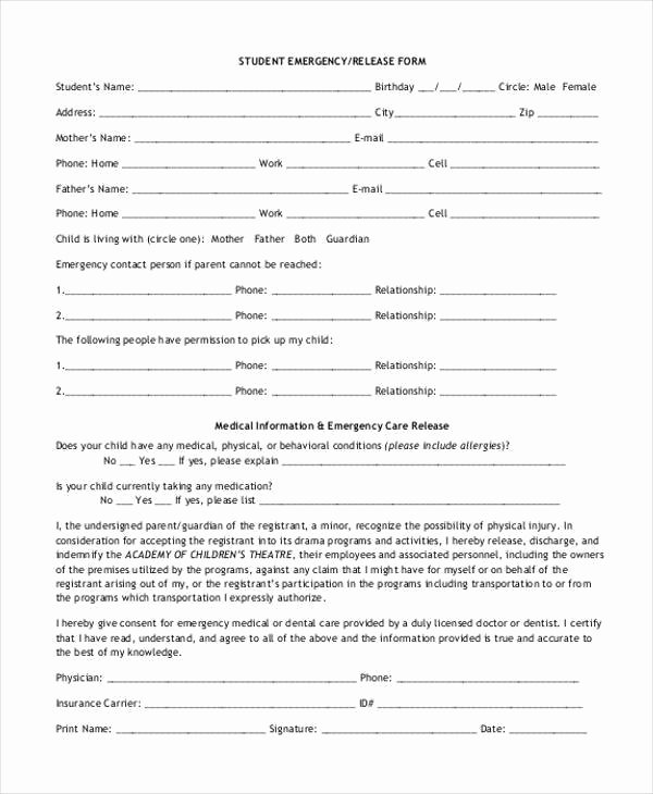 Emergency Room Discharge form Fresh 9 Emergency Release form Samples Free Sample Example