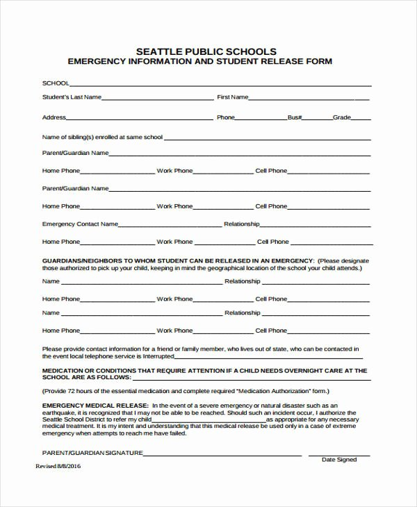 Emergency Room Discharge form Lovely 21 Emergency Release form Example