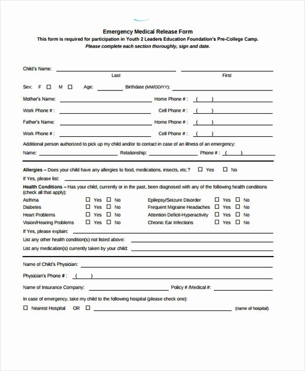 Emergency Room Discharge form Lovely Patient Release form