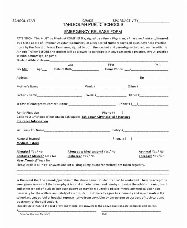 Emergency Room Discharge form Lovely Sample Emergency Release forms 8 Free Documents In Pdf
