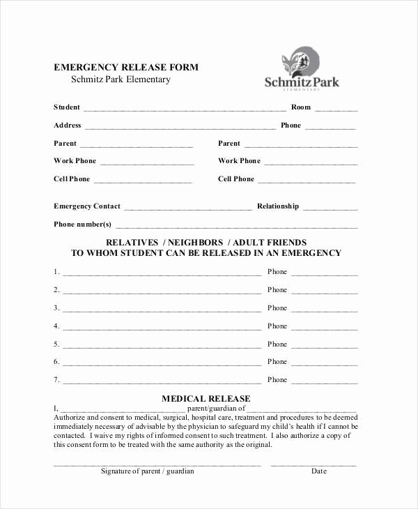 Emergency Room Discharge form New Sample Emergency Release forms 8 Free Documents In Pdf