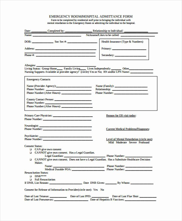 Emergency Room Release form Best Of 21 Emergency Release form Example