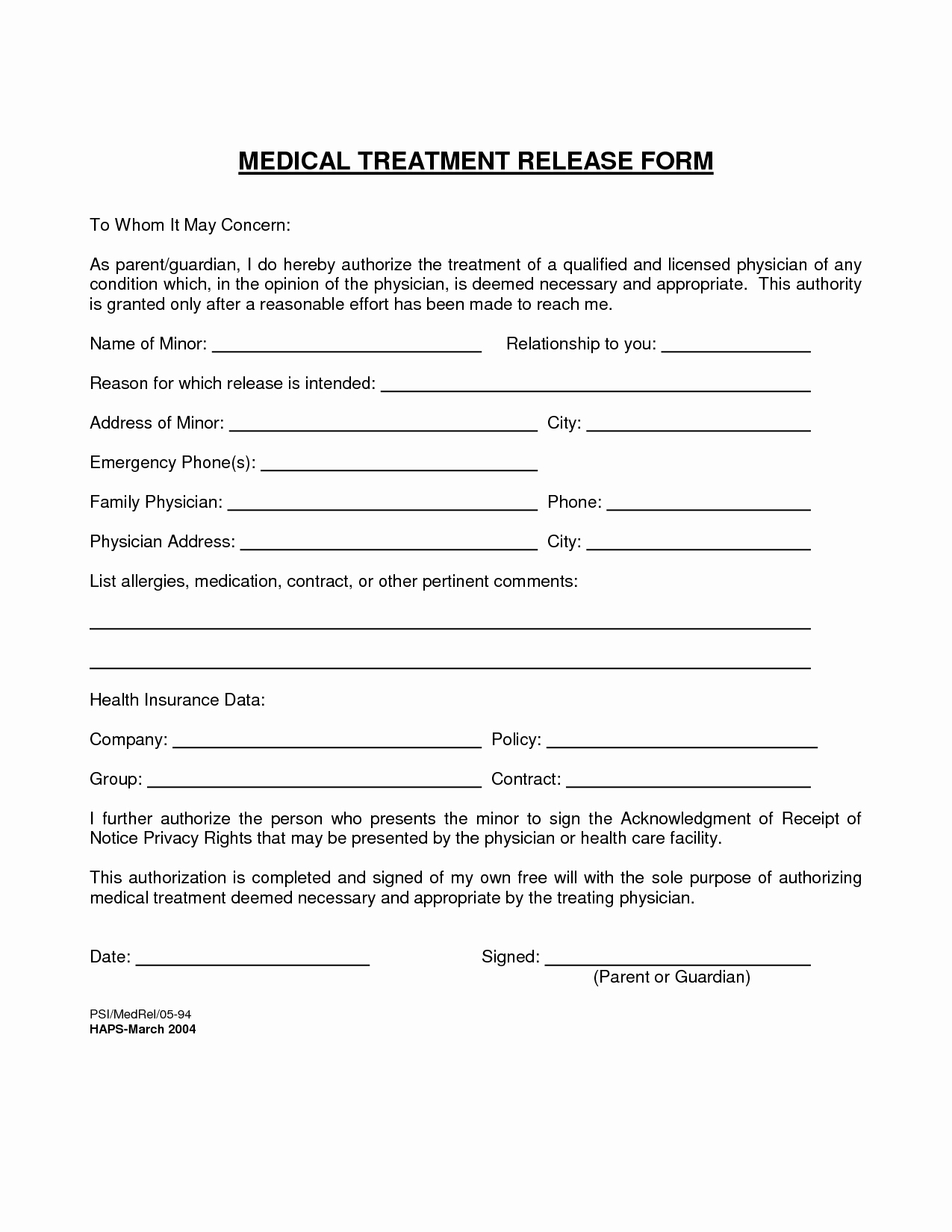Emergency Room Release form Template Awesome Medical Treatment Release form Free Printable Documents