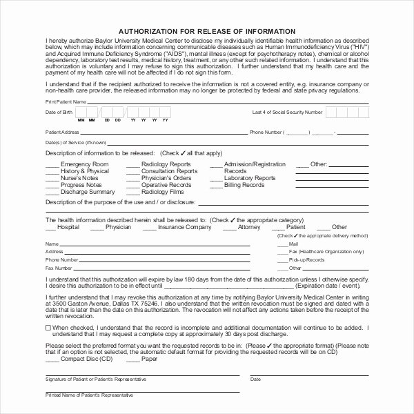 Emergency Room Release form Template Beautiful 19 Sample Medical Records Release forms