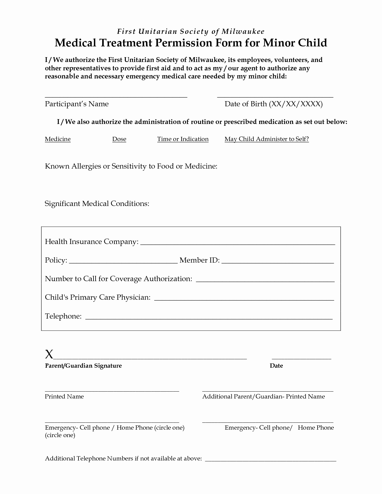 Emergency Room Release form Template Fresh Medical Treatment Release form Free Printable Documents