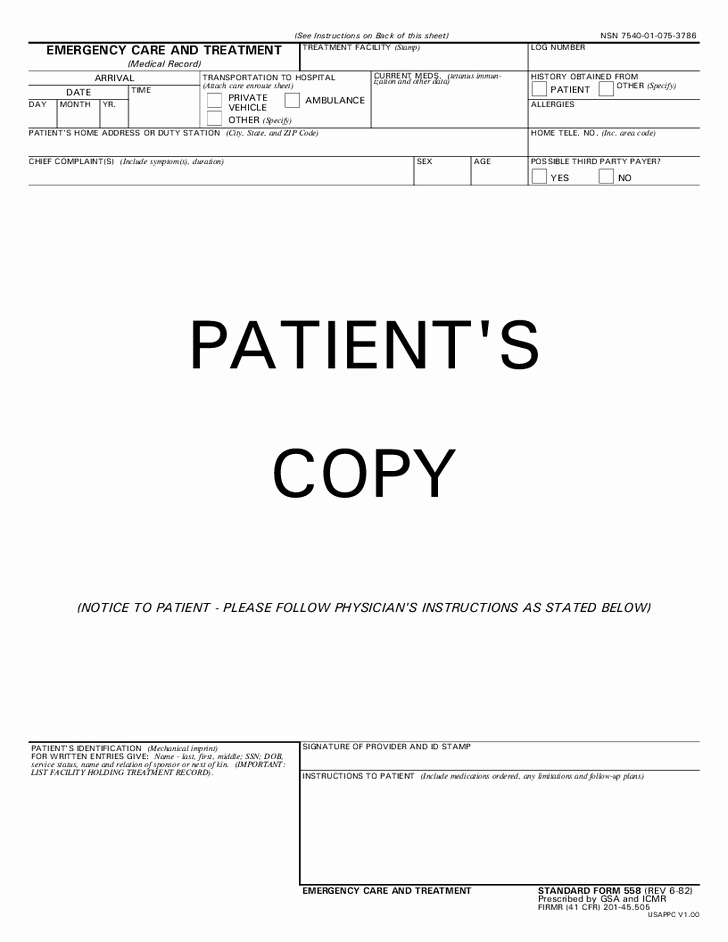 Emergency Room Release form Template New 29 Of Urgent Care Documentation Template