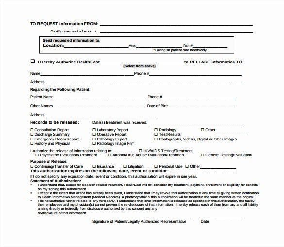Emergency Room Release form Template Unique Sample Hospital Release form 11 Download Free Documents