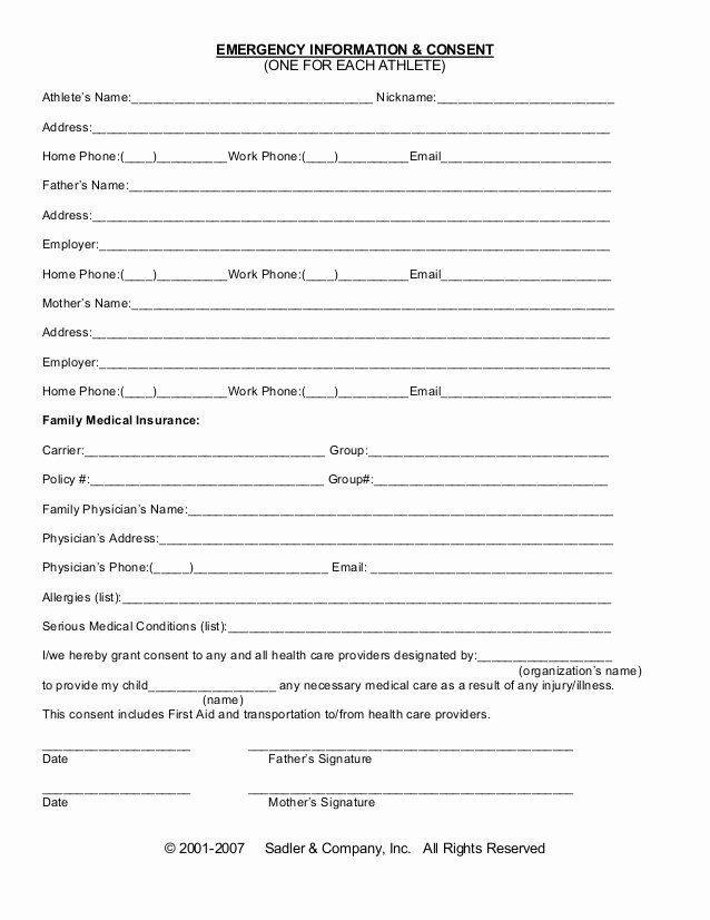 Emergency Room Release form Unique Emergency Information Medical Consent form