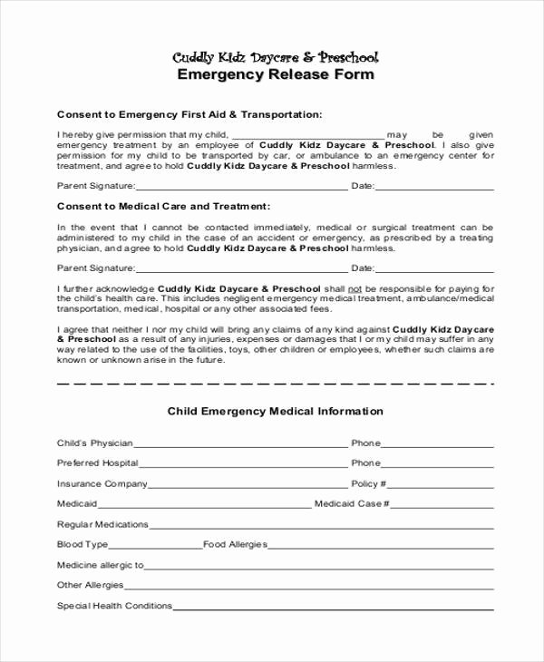 Emergency Room Release Papers Beautiful 9 Emergency Release form Samples Free Sample Example