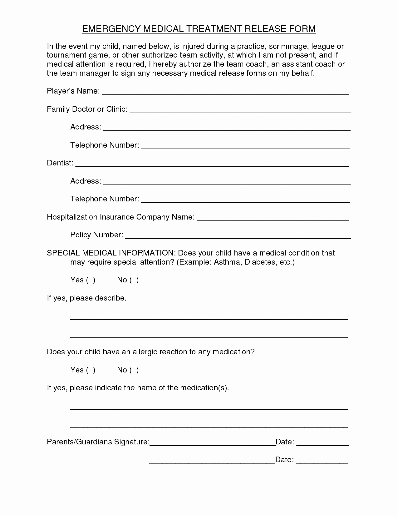 Emergency Room Release Papers Beautiful Medical Treatment Release form Free Printable Documents