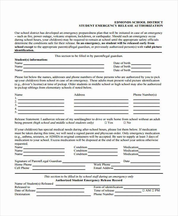 Emergency Room Release Papers Fresh 21 Emergency Release form Example