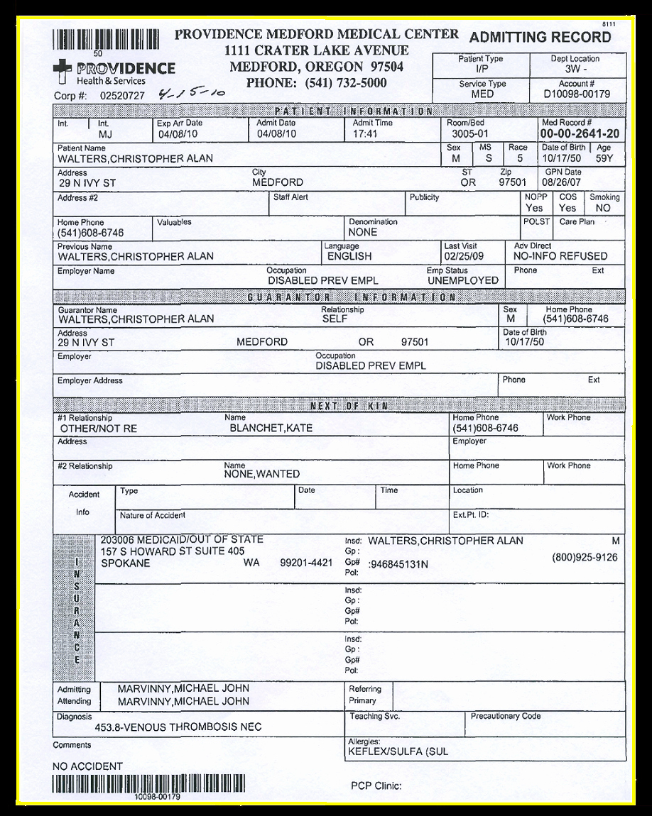 Emergency Room Release Papers New Exhibits 46 71 Deep Vein Thrombosis 1 2009 July 2010