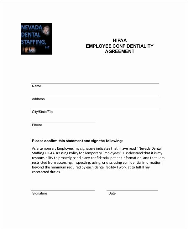 Employee Acknowledgement form Template Best Of 9 Employee Confidentiality Agreement Templates & Samples