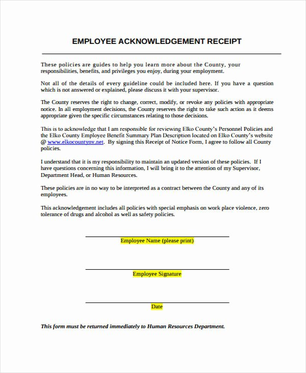 Employee Acknowledgement form Template Best Of Acknowledgement Receipt Templates 9 Free Word Pdf