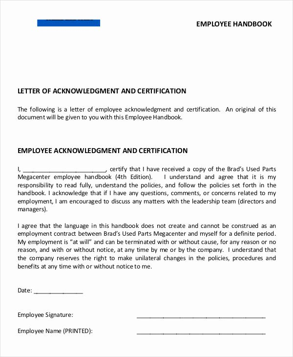 Employee Acknowledgement form Template New Employee Acknowledgement Letter Template 6 Free Word