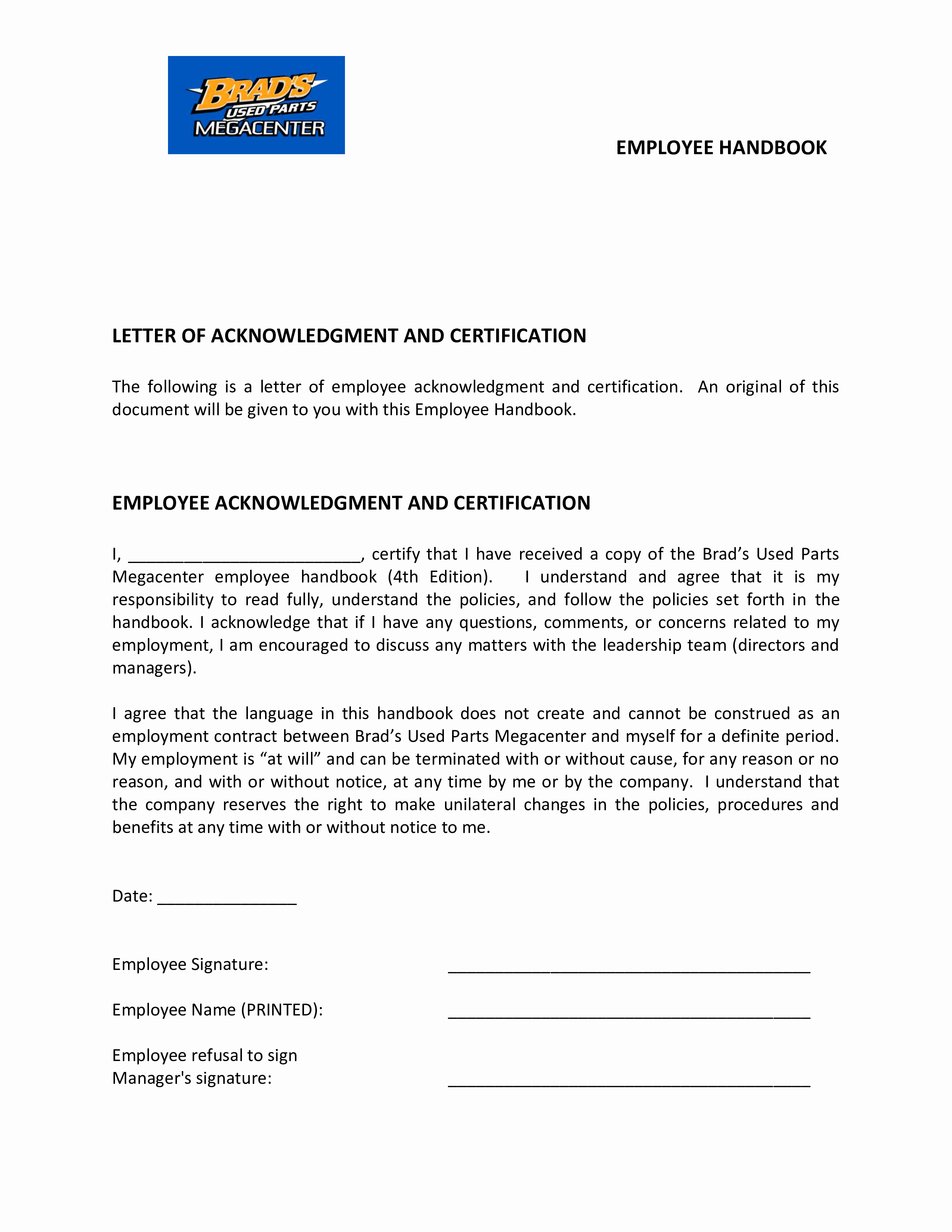 Employee Acknowledgement form Template New Free Employee Handbook Acknowledgement Letter