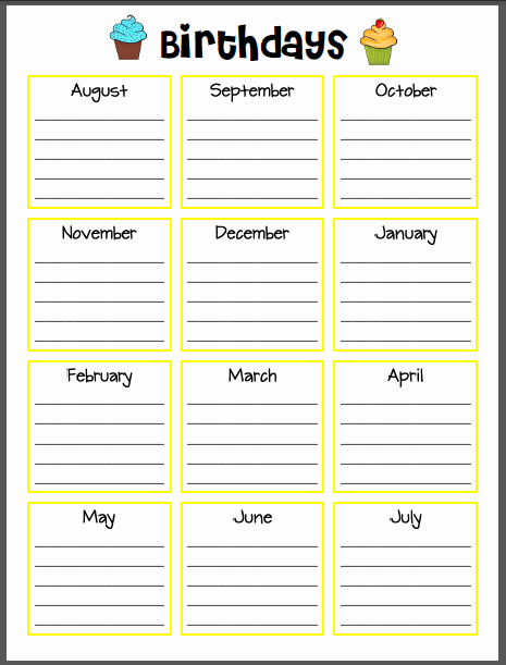 Employee Birthday List Template Elegant Super Sparkly In Second Wanna See My Lesson Plan Book