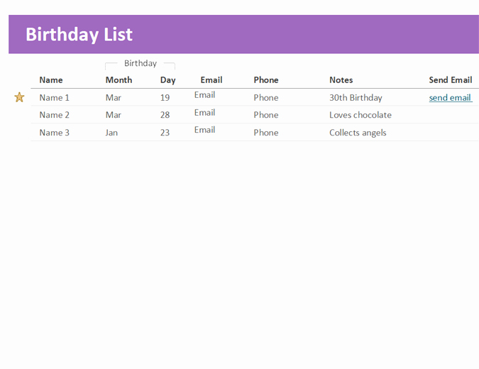 Employee Birthday List Template Lovely Birthday List