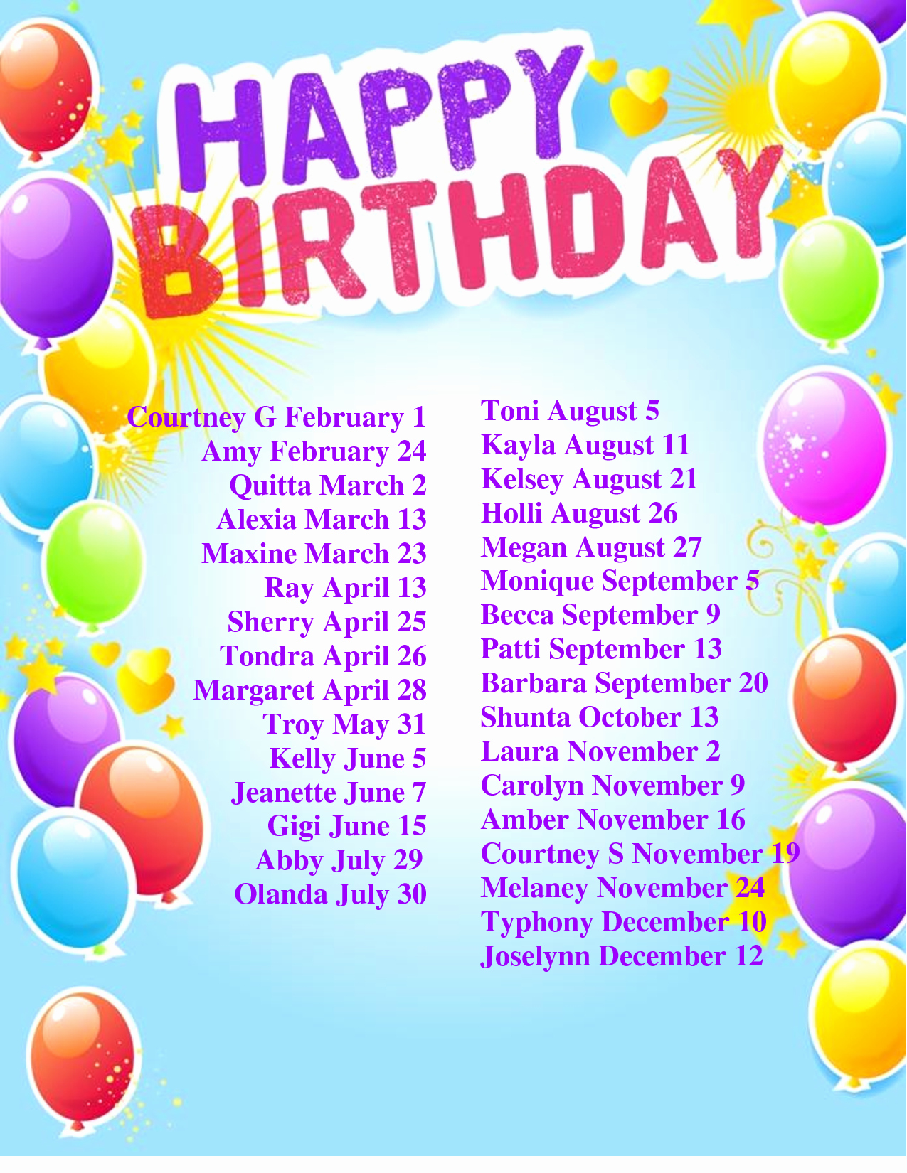 Employee Birthday List Template Luxury 8 Best Of Printable Monthly Birthday List Templates