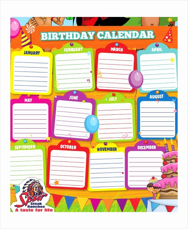 Employee Birthday List Template Luxury Birthday Calendar 11 Free Word Pdf Psd Documents
