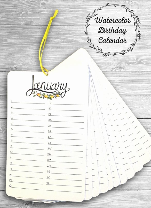 Employee Birthday List Template Unique 40 Calendar Templates