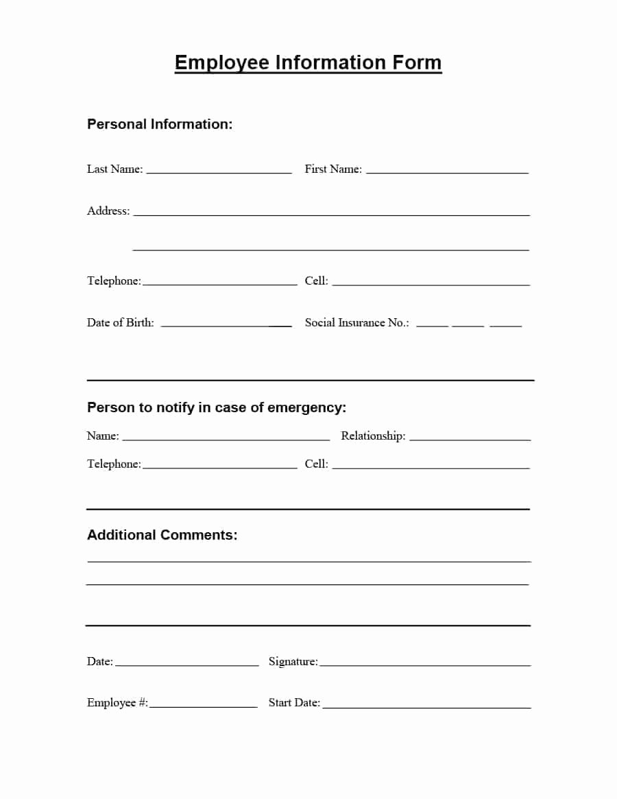 Employee Contact Information form Awesome 47 Printable Employee Information forms Personnel