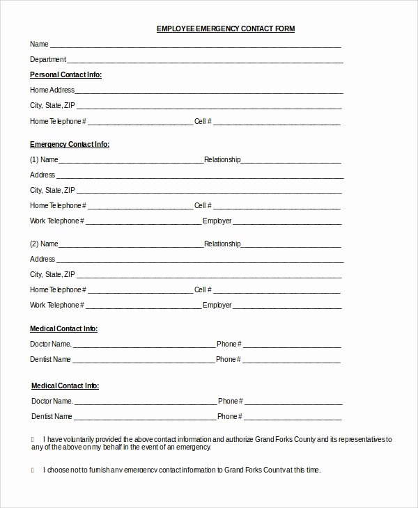Employee Contact Information form Beautiful 8 Sample Emergency Contact forms Pdf Doc