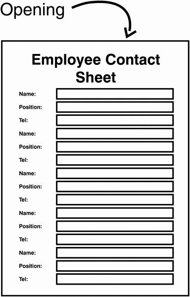 Employee Contact Information form Beautiful Employee Contact Sheet Update Sign Holder