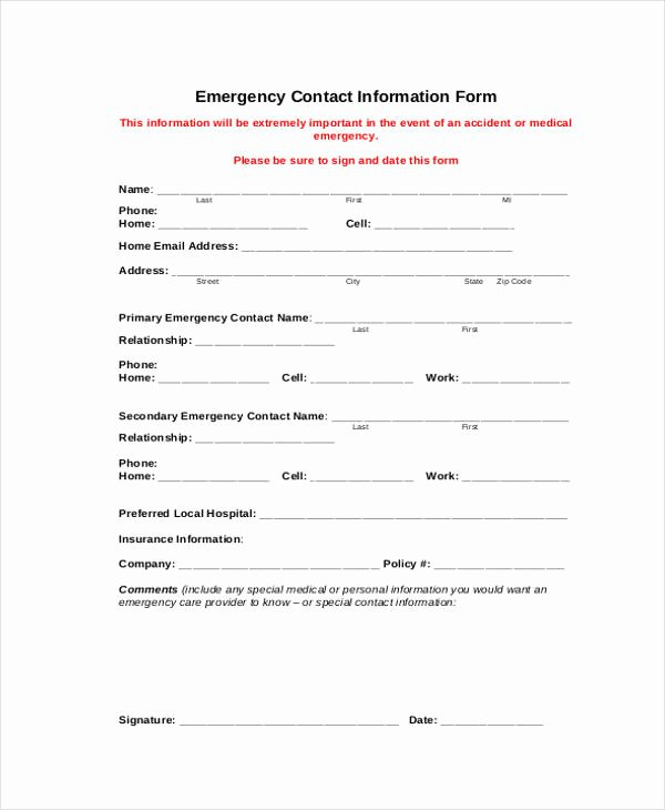Employee Contact Information form Elegant 7 Employee Personal Information form Sample Free