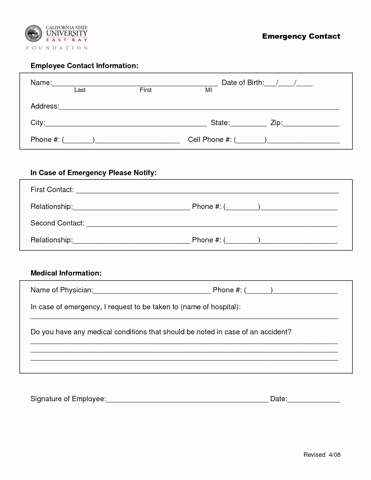 Employee Contact Information form Fresh Employee Emergency Contact form In Spanish the Best Employee