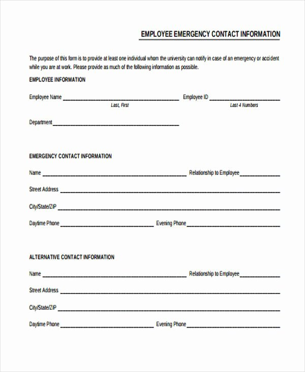 Employee Contact Information form Inspirational 32 Emergency Contact form Example
