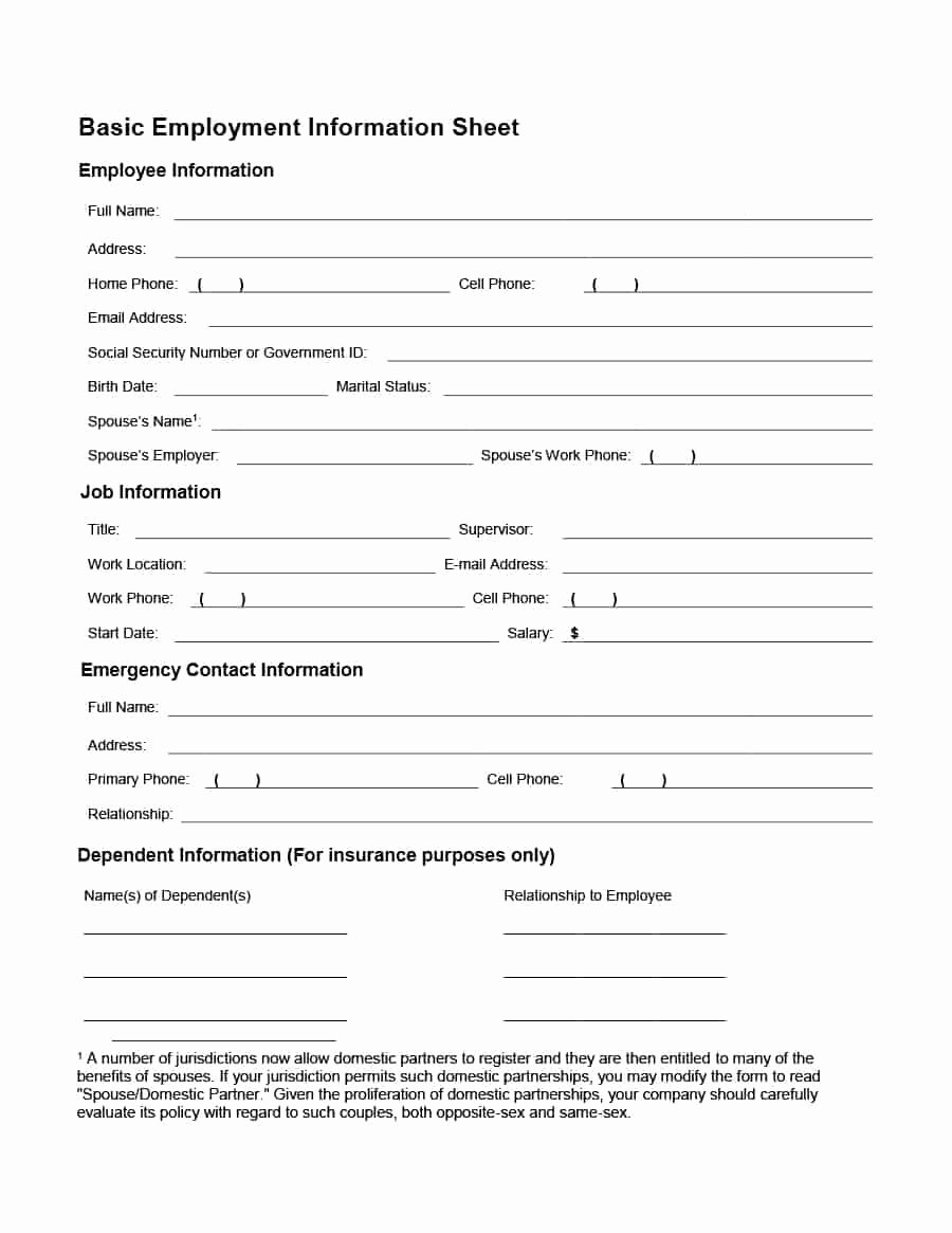 Employee Contact Information form Lovely 47 Printable Employee Information forms Personnel