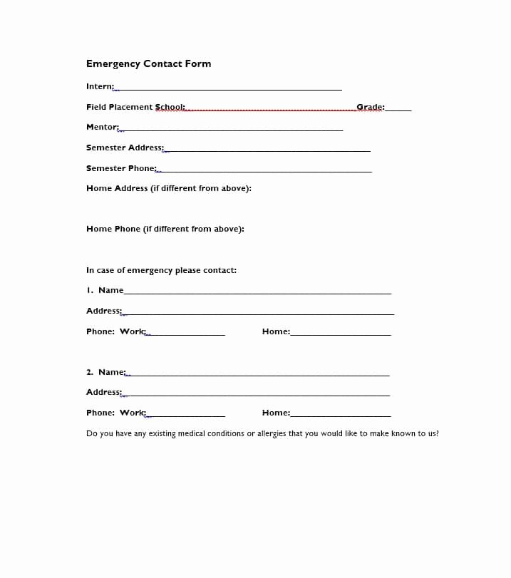 Employee Contact Information form Lovely 54 Free Emergency Contact forms [employee Student]