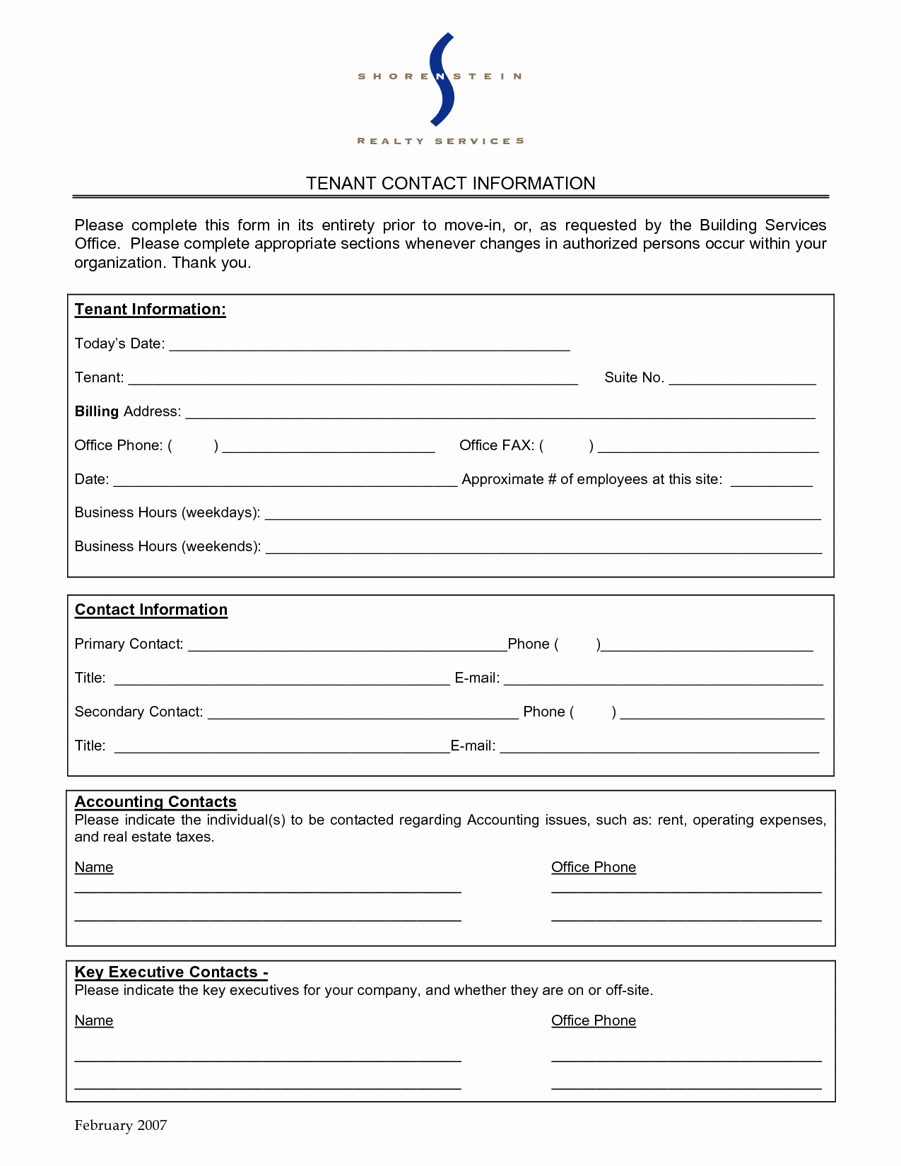 Employee Contact Information form Luxury Best S Of Mercial Tenant Contact Sheet Tenant