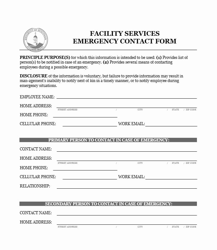 Employee Contact Information form Luxury Emergency form Template Alfonsovacca