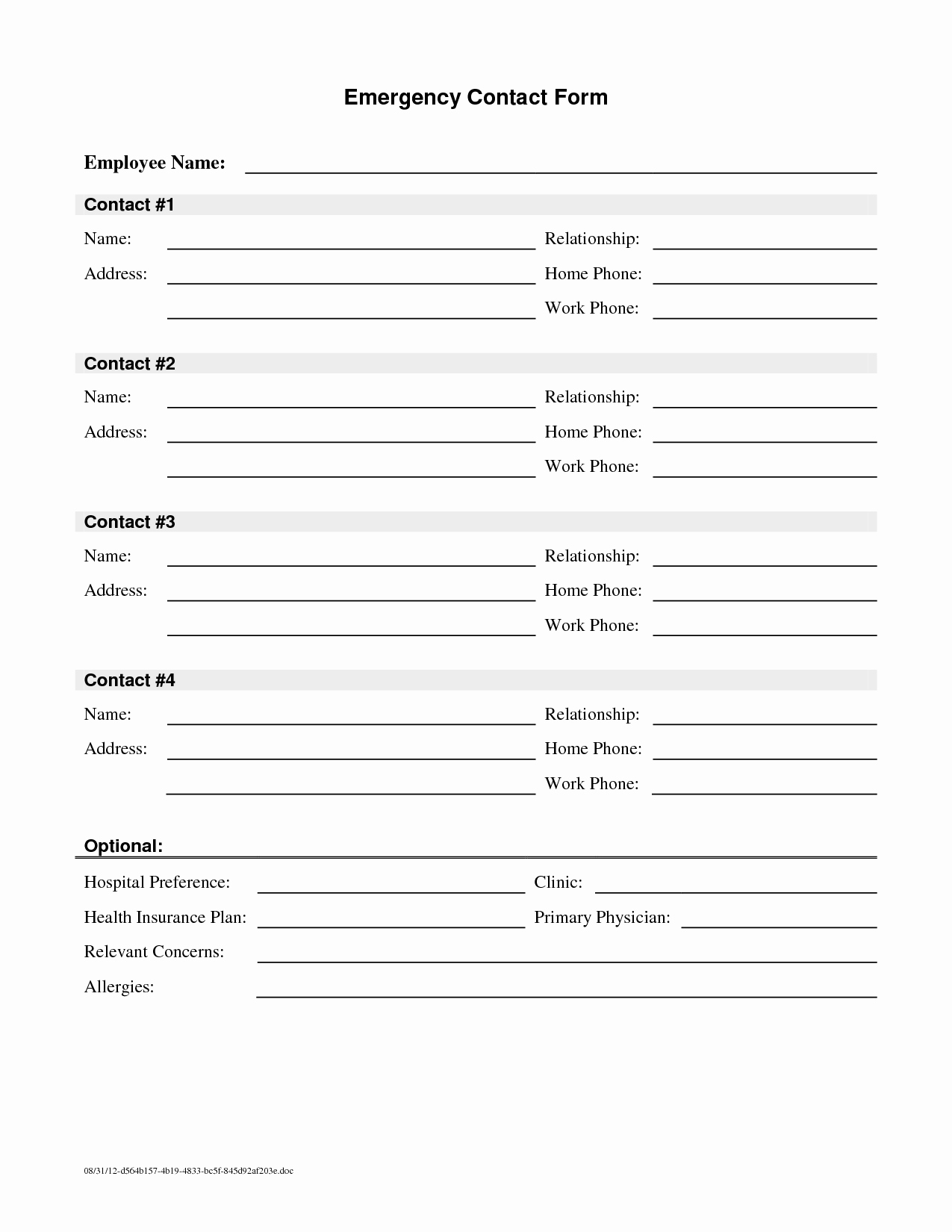 Employee Contact Information form Luxury Employee Emergency Contact Printable form to Pin