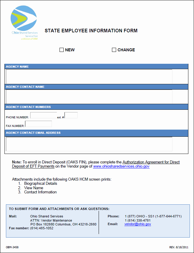 Employee Contact Information form Luxury so State Employee Information form