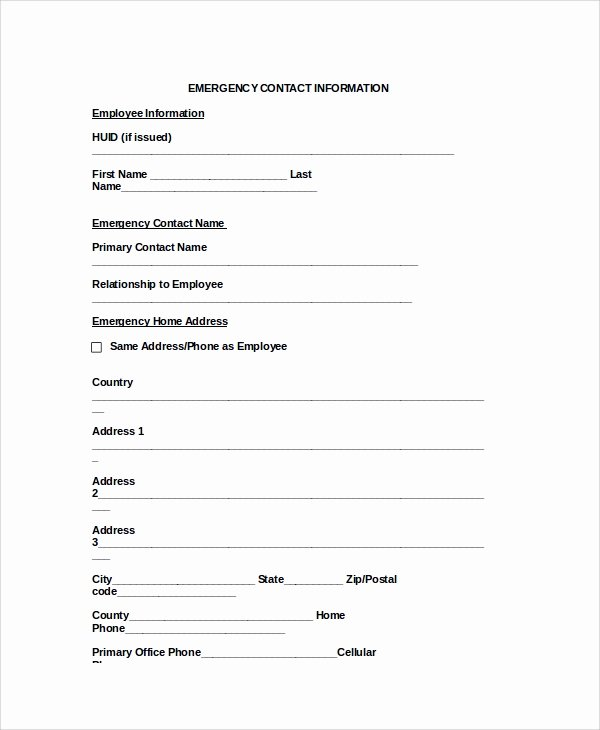 Employee Contact Information form Unique 8 Emergency Contact form Samples Examples Templates