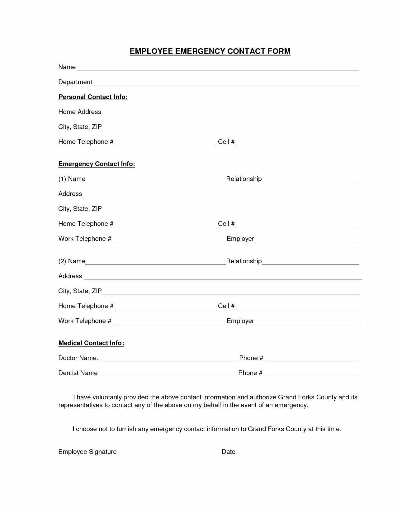 Employee Contact Information form Unique Employee Emergency Contact Printable form to Pin