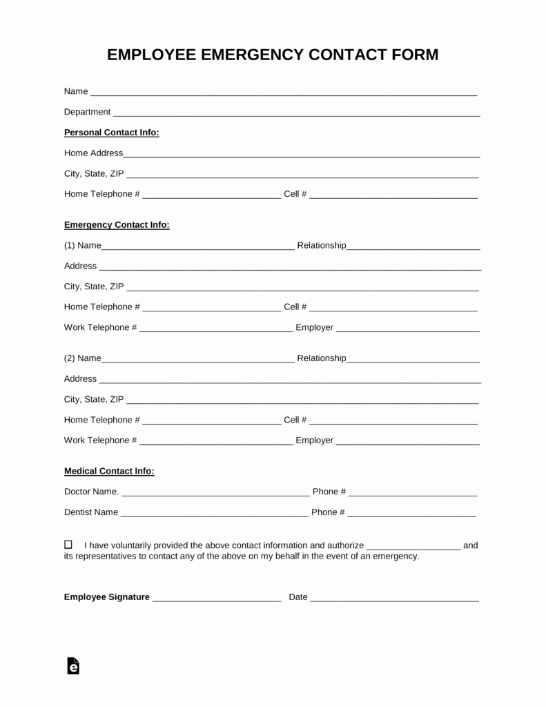 Employee Contact Information Template Awesome Free Employee Emergency Contact form Pdf Word