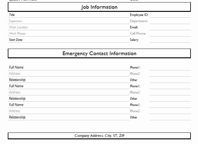 Employee Contact Information Template Beautiful 13 Employment Information Sheet