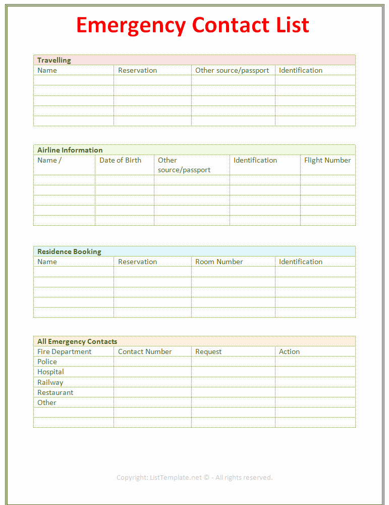 Employee Contact Information Template Elegant Employee Emergency Contact Printable form to Pin
