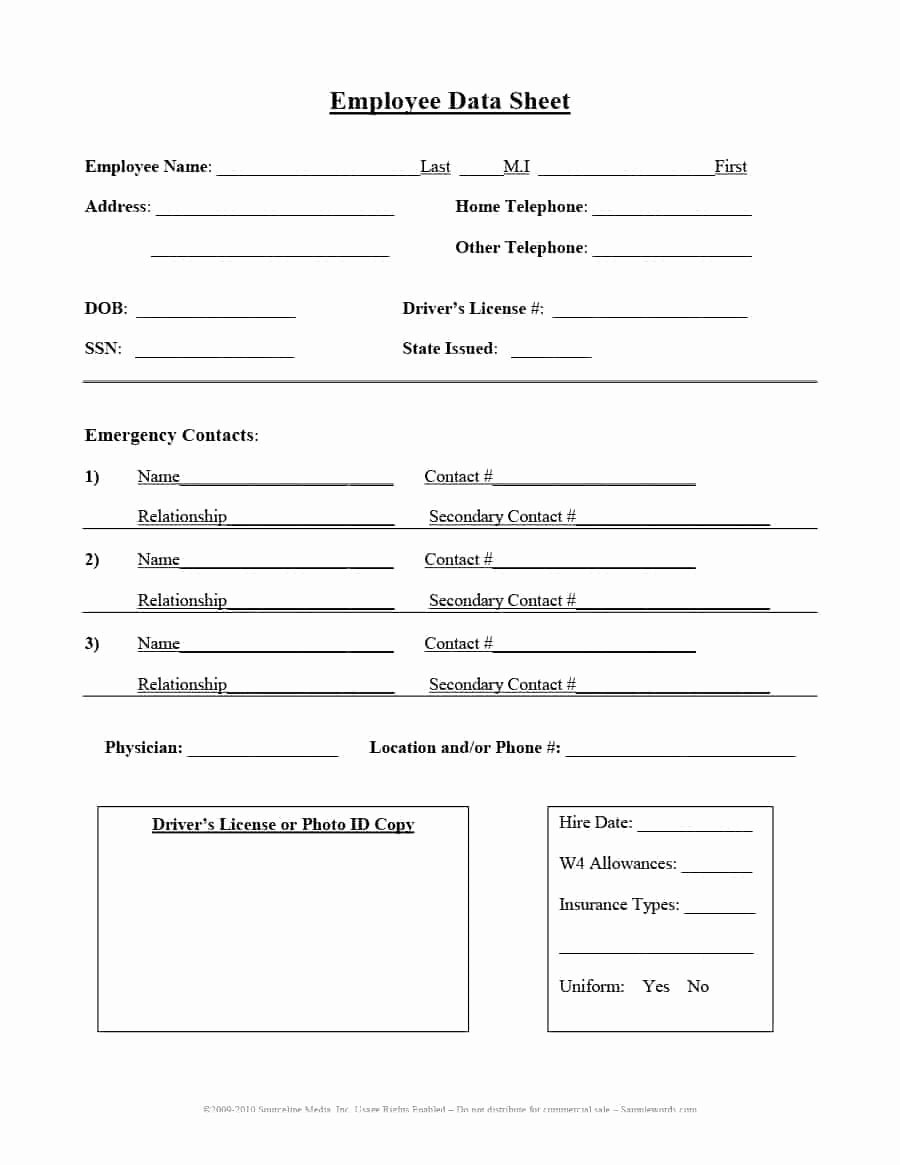 Employee Contact Information Template Fresh 47 Printable Employee Information forms Personnel