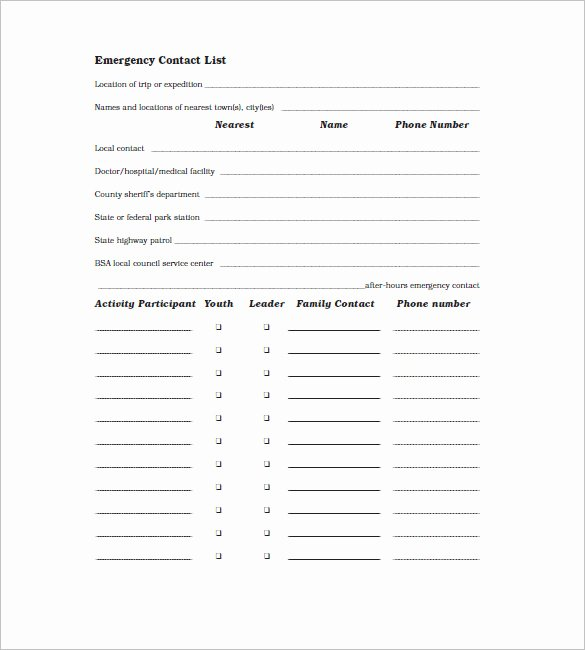 Employee Contact Information Template New Contact List Template 19 Free Sample Example format