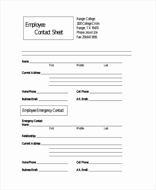 Employee Contact Information Template New Employee Sheet Templates 10 Free Word Pdf & Excel